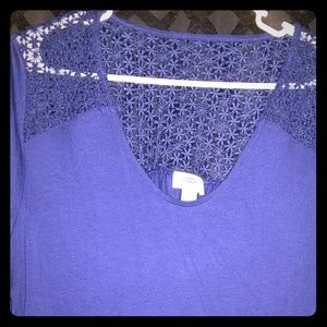 Blue Old Navy shirt with lace upper back